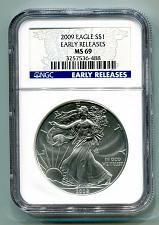 Buy 2009 AMERICAN SILVER EAGLE NGC MS69 EARLY RELEASES PREMIUM COIN FROM BOBS COINS