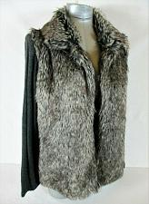 Buy JOSEPH A. womens Medium L/S brown black FAUX FUR open front sweater jacket B3)P