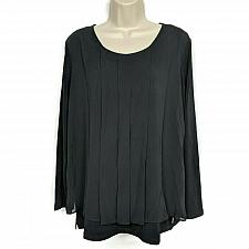 Buy Susan Graver Womens Liquid Knit Top with Chiffon Overlay Medium Black Pleated