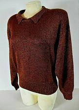 Buy LIZ CLAIBORNE womens Large L/S copper METALLIC 1 pocket stretch sweater (C3)