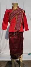 Buy Red Lao Laos Girl Tradition Dress Clothing 3/4 Seeve Blouse Sinh Skirt Size 8
