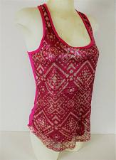 Buy EYELASH COUTURE womens Small sleeveless fuchsia SEQUINED FRONT stretch top (E)