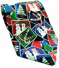 Buy Christmas Tree Snowman Candy Cane Ornaments Postage Stamp Novelty Silk Necktie
