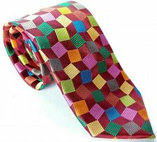 Buy Woody's Men's Dress Necktie 100% Silk Geometric Brown Blue Green Orange Red
