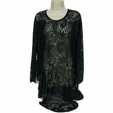 Buy NWT Attitudes by Renee Ruffle Lace Tunic Size Large Black Sheer Scoop Neck