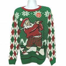 Buy NWT Ugly Christmas Sweater Santa Claus Golfing Light Up Lg Snowflake Long Sleeve