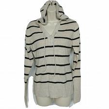 Buy Life Energy Intelligence L.E.I. Womens Hoodie XL Beige Black Striped V Neck