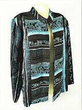 Buy PICADILLY FASHIONS womens 2X L/S blue black TEXTURED open front jacket (C3)