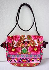 Buy Thai HMONG Hill Tribe Ethnic Rose Floral Embroidered Tote Bag Handbag BM-368