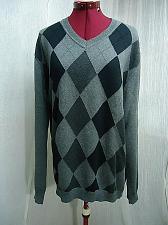 """Buy Claiborne Mens Cotton Argyle Sweater Gray Black Size Large 42-44"""" chest"""
