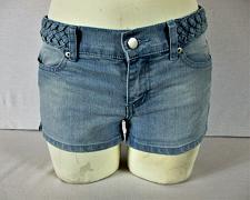 Buy FOREVER 21 womens Sz 25 W25 blue denim BRAIDED WAIST stretch shorts (B7)P