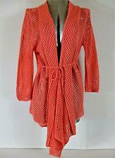 Buy UNITED STATES SWEATERS womens XL L/S peach CROCHET KNIT cardigan sweater H)