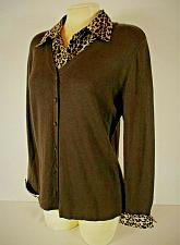 Buy NOTATIONS womens Large L/S brown ANIMAL PRINT accent stretch knit top (B8)