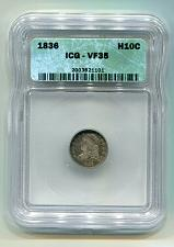 Buy 1836 CAPPED BUST HALF DIME LARGE 5 LM-7 RARITY 4 ICG VF35 NICE ORIGINAL COIN