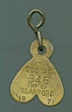 Buy Vintage DOG License Brass Tag Township of Glanford 1971 346