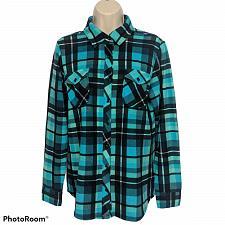 Buy Denim & Co. Womens Brushed Heavenly Jersey Plaid Button Front Shirt XS Aqua Blue