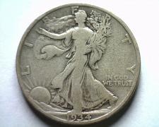 Buy 1934-S WALKING LIBERTY HALF VERY GOOD / FINE VG/F NICE ORIGINAL COIN BOBS COINS