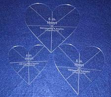 """Buy Heart Template 3 Piece Set. 4"""",5"""",6"""" - Clear 1/8"""" Thick w/ guidelines"""