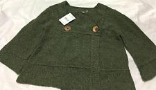 Buy FREE PEOPLE NWOT Woodland Green Wool Double Button Cardigan Sweater 3/4 Sleeve M