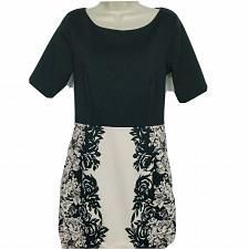 Buy LC Lauren Conrad Shift Dress Size 10 Black Cream Floral Boat Neck Short Sleeve