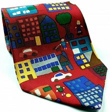 Buy Save The Children My Town Billy Age 2 Children Houses Trees Novelty Silk Tie