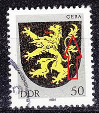 Buy GERMANY DDR [1984] MiNr 2857 F68 ( OO/used ) [01] Wappen Plattenfehler