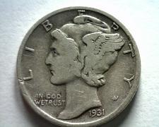 Buy 1931 MERCURY DIME FINE / VERY FINE F/VF NICE ORIGINAL COIN BOBS COIN FAST SHIP