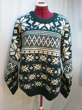 Buy IZOD Mens L Green White Snowflake Heavy Thick Chunky Wool Ski Christmas Sweater
