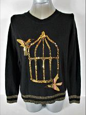 Buy H&M womens Medium L/S black METALLIC gold SEQUINS alpaca BLEND sweater (A5)P