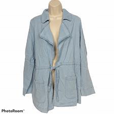 Buy Studio by Denim & Co. Womens Open Front Jacket with Waist Tie Medium Bleach Wash