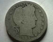 Buy 1905 BARBER QUARTER DOLLAR ABOUT GOOD+ AG+ NICE ORIGINAL COIN FROM BOBS COINS