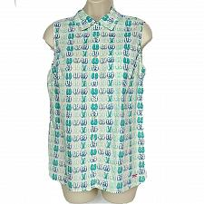 Buy Talbots Womens Petites Blouse Top Size 6P Flip Flop Print Beach White Blue Teal
