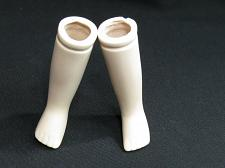 """Buy Vintage Bisque Porcelain Doll Legs 3 3/4"""" long Flange Style Tinted"""