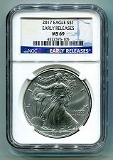 Buy 2017 AMERICAN SILVER EAGLE NGC MS69 CLASSIC EARLY RELEASES BLUE LABEL, AS SHOWN