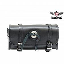 "Buy Front Fork Tool Bag Handlebar Motorcycle Black Leather 10"" Universal Storage"