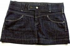 Buy Express Women's A Line Jean Skirt Flat Front Size 4 Solid Blue Denim 4 Pocket
