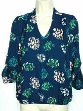 Buy NWT Dragonfly Womens Floral Blouse Top Size XS Blue Plunge Neck Long Sleeve