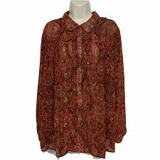 Buy Joan Rivers Button Down Paisley Print Blouse Top 22W Ruffles Sheer Long Sleeve