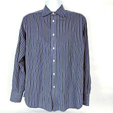 Buy Robert Graham Men's Button Down Shirt Large Long Sleeve Striped Blue
