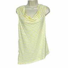 Buy NWT Jones New York Asymmetrical Tank Top XS Yellow White Striped Draped Neck