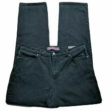 Buy Gloria Vanderbilt Amanda Straight Leg Jeans Size 12 Black Wash Stretch Denim