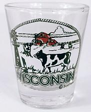 """Buy Wisconsin Dairy Cow Holstein Barn Windmill 2.25"""" Collectible Shot Glass"""
