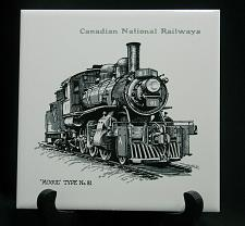"Buy Vintage Train Railroad Railway Tile Trivet Plaque Employee Award 6"" CN Mogul 81"