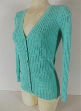 Buy LINK womens Medium L/S blue RIB KNIT button down 2 pocket cardigan sweater (C3)