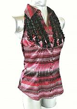 Buy BISOU BISOU womens Small sleeveless red black pink RUFFLE button down top (C3)