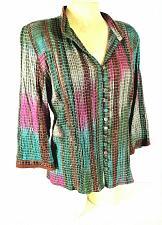 Buy Christopher & Banks womens Small purple green SILVER METALLIC stretch top X)PMTD