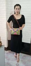 Buy Thai HMONG Hill Tribe Ethnic Rose Floral Embroidered Tote Bag Handbag BM-009