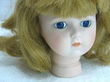 """Buy Vintage Bisque Porcelain Doll Head Flange style 4 1/2"""" Blue Eyes Blonde Brown"""