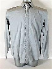 Buy DKNY mens Medium L/S GRAY WHITE STRIPED HIDDEN BUTTON DOWN SHIRT (B)P