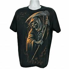 Buy Halloween Grim Reaper Scythe Death Skull Graphic T-Shirt Size Large Short Sleeve